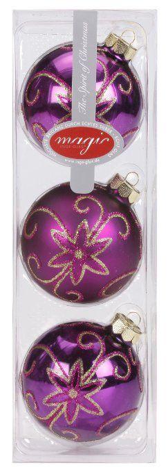Inge Glas 4442K803 - Set di 3 palle decorative in vetro, ø 80 mm, decorazione a fiori su colore viole brillante o opaco