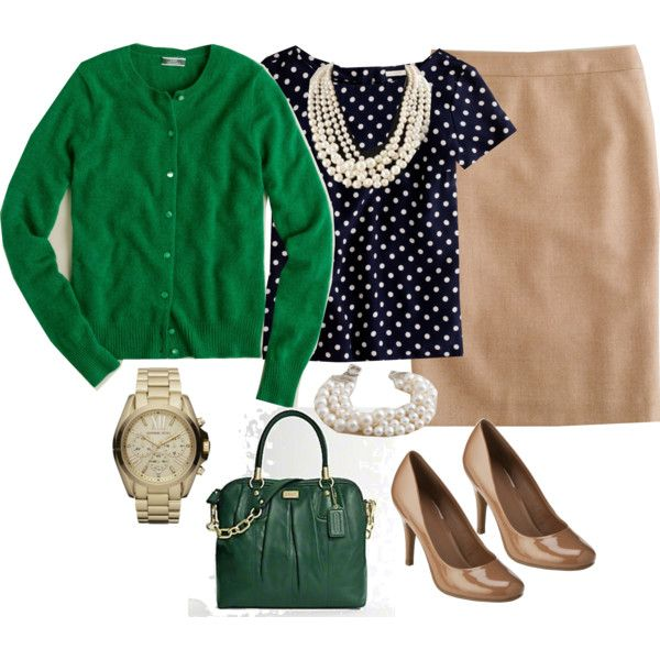 Green cardigan, navy w/ white polka dots blouse, khaki skirt, multi-strand pearl necklace, nude heels.
