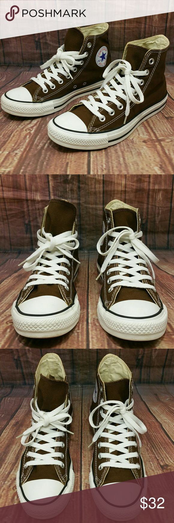 CONVERSE CT All Star High Top Brown Canvas Shoes Excellent Pre-owned Conditions Converse Chuck Taylor all Star in Brown.  Women's Size 9 Men's size 7  Please see pics for better details Actual pictures of the shoes on sale Converse Shoes Sneakers