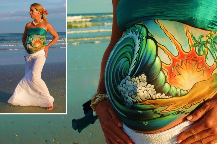 Breaking Wave Belly Painting