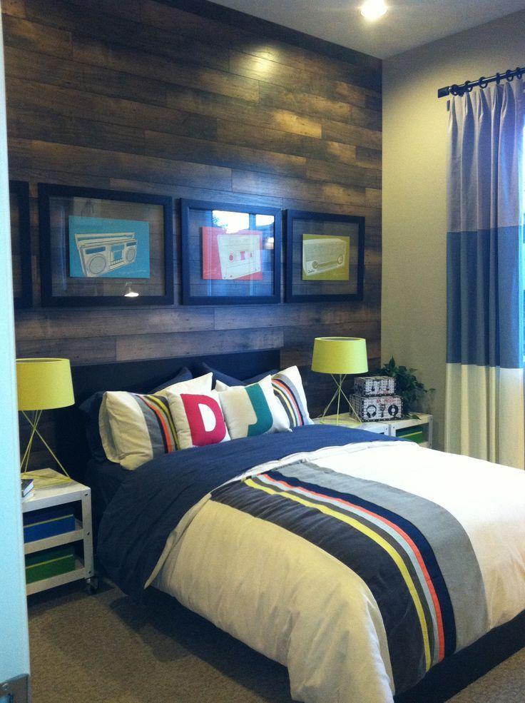 Boys room- laminate wood flooring used on back wall Boys Bedroom