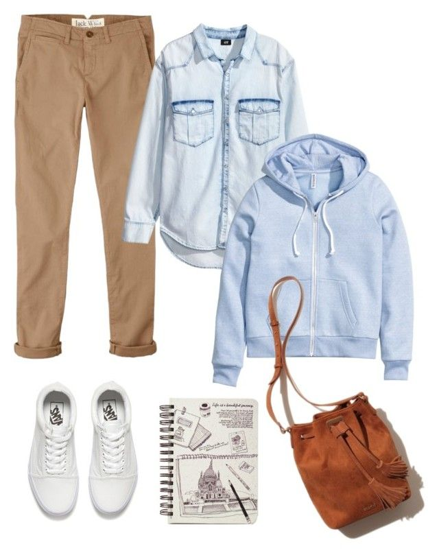 """бежевые джинсы"" by anjasha ❤ liked on Polyvore featuring Jack Wills, H&M and Vans"