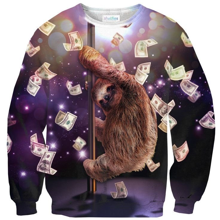 Sure, sloths sleep all day, but is anyone 100% SURE what they do at night? https://www.shelfies.com/products/stripper-sloth-sweater-1 #shelfies