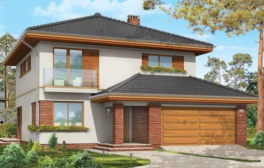 Projekt Szmaragd to jeden z najnowszych projektów domów jednorodzinnych. Nowoczesna forma budynku z atrakcyjnymi detalami współgra w nim z prostą formą zbudowanej na planie kwadratu bryły, przekrytej kopertowym dachem. Zasadniczą bryłę domu wzbogacono o częściowo wystający garaż, podcień wejściowy i ogrodowy, wykusz i balkony.