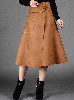 Vintage Brown alta cintura Slim A línea de falda