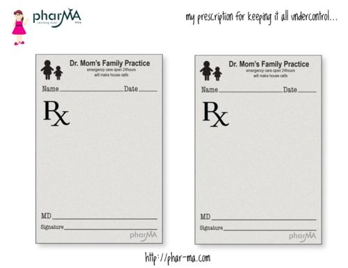 "Free Printable. Dr Mom's prescription pad! These ""prescription pads"" are a great way to brighten your family's day. Just print, cut, fill out with your child's name, message (i.e. ""have a great day"", ""take 2 cookies and call me in the morning"", ""clean your room"")"