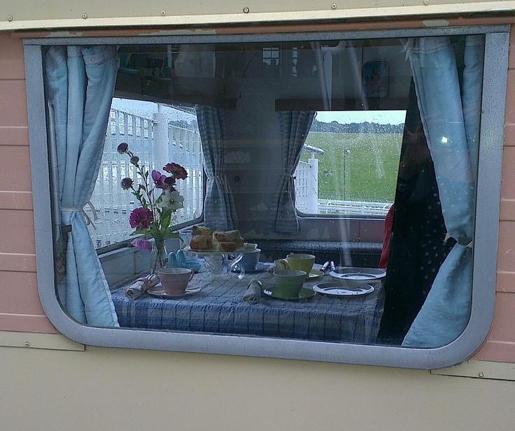 A peek in the vintage caravan Epsom Vintage Fair