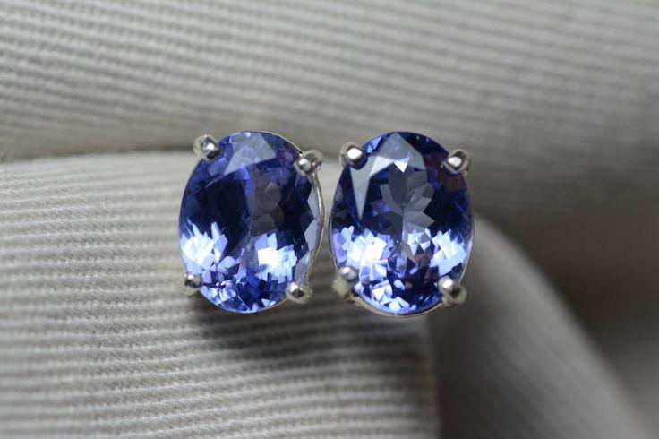 Tanzanite Earrings, 4.53 Carat Tanzanite Stud Earrings, Oval Cut, Sterling Silver, IGI Certified, Genuine Real Natural Tanzanite Jewelry