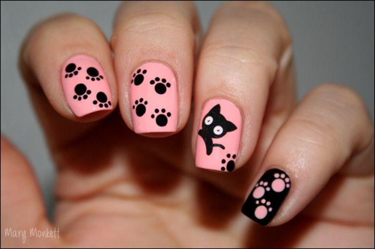 Black cat nail art - I want this look!