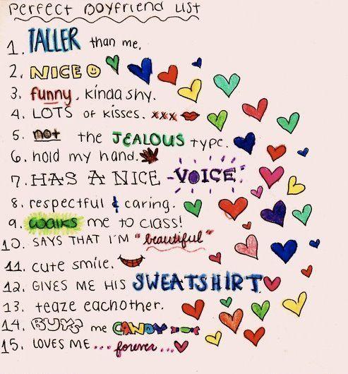 The perfect boyfriend list. <3