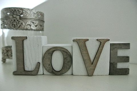Love Blocks - Divine Shabby Chic Love Block   Made from wood and come in white with natural wood letters  Measuring 19cm x 6 cm in total   Fabulous gift for a loved one or just a perfect addition to the home