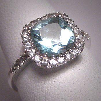 Art deco vintage aquamarine wedding ring