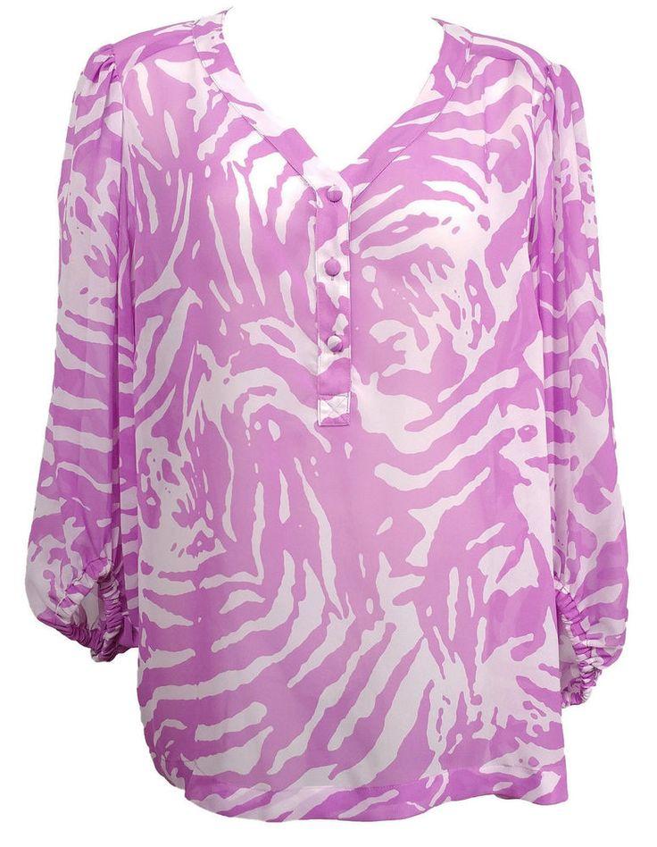 Sofia Vergara Women's Sheer Blouse Sz XL Animal Print V-Neck 3/4 Sleeve #SofiaVergara #SheerBlouse #Various