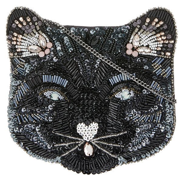 Accessorize Kitty Cat Embellished Across Body Bag ($44) ❤ liked on Polyvore featuring bags, handbags, shoulder bags, zip shoulder bag, sparkly purses, crossbody shoulder bag, chain shoulder bag and crossbody handbags