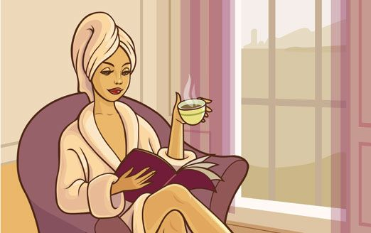 Sipping a coffee while reading Novel