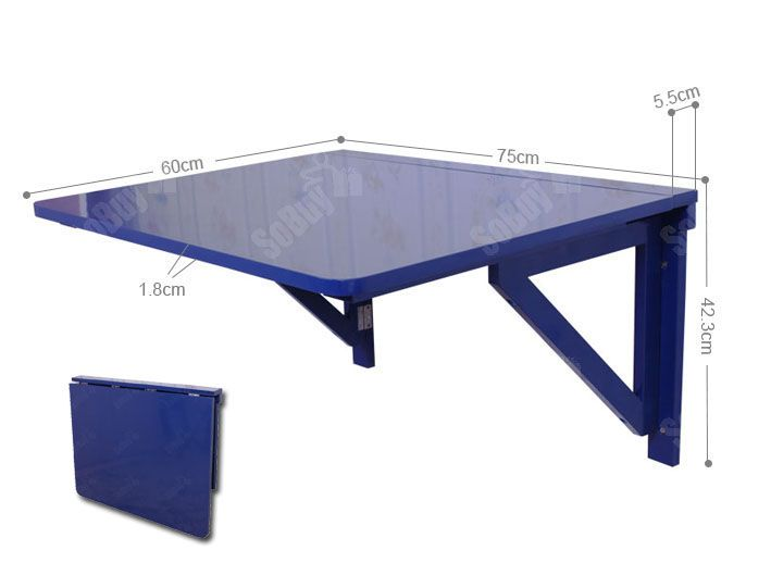 Sobuy wall mounted drop leaf table wood folding dining table fwt05 b blue - Fabriquer table murale rabattable ...