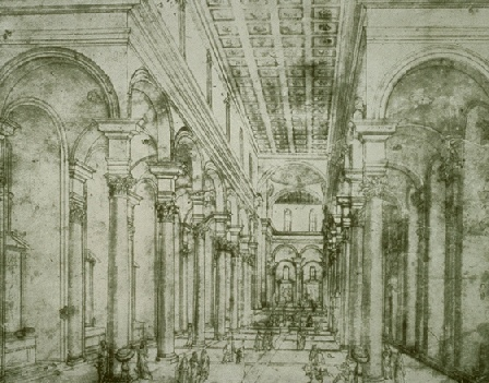 Linear perspective (Brunelleschi, da Vinci). Drawing The centre nave in St. Lorenzo by Brunelleschi (early 15th century).