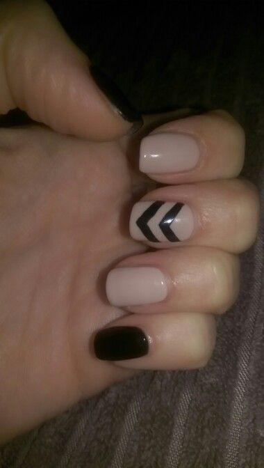 Loving my shiny new black and nude nails! #nude #black #nails #nailart #nailstagram #blacknails