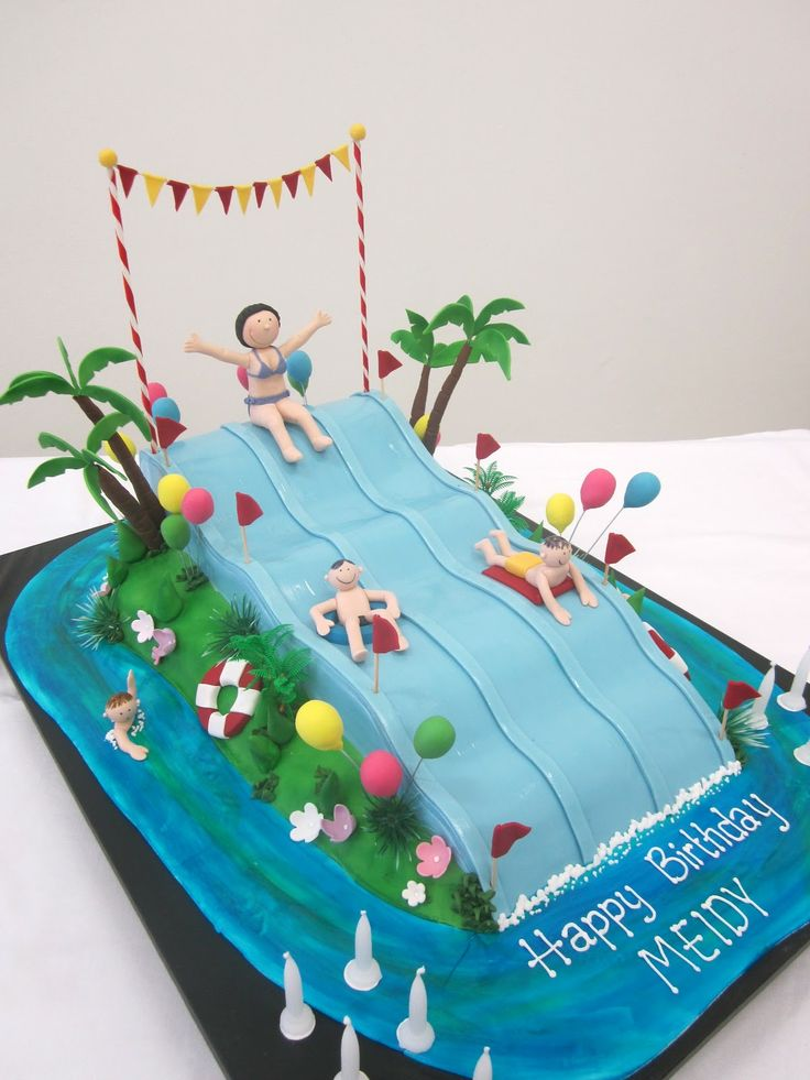 Swimming Pool Cake Ideas coolest swimming pool cake Pin Coolest Water Slide Birthday Cake 7 On Pinterest