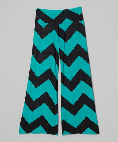 Take a look at this Green & Black Zigzag Palazzo Pants - Girls by Zoe on #zulily today!