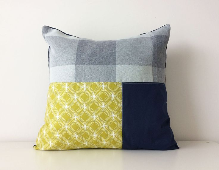 Modern Color Block Patchwork Pillow Cover, 18x18, Contemporary Cushion Cover, Texture, Grey, Blue, Green, Buffalo Check, Geometric, Navy by BlackcatmeowDesigns on Etsy