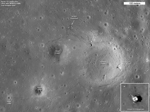 Apollo 12 Landing SiteCredit: NASA/Goddard/ASUThe tracks made in 1969 by astronauts Pete Conrad and Alan Bean, the third and fourth humans to walk on the moon, can be seen in this LRO image of the Apollo 12 site. The location of the descent stage for Apollo 12's lunar module, Intrepid, also can be seen