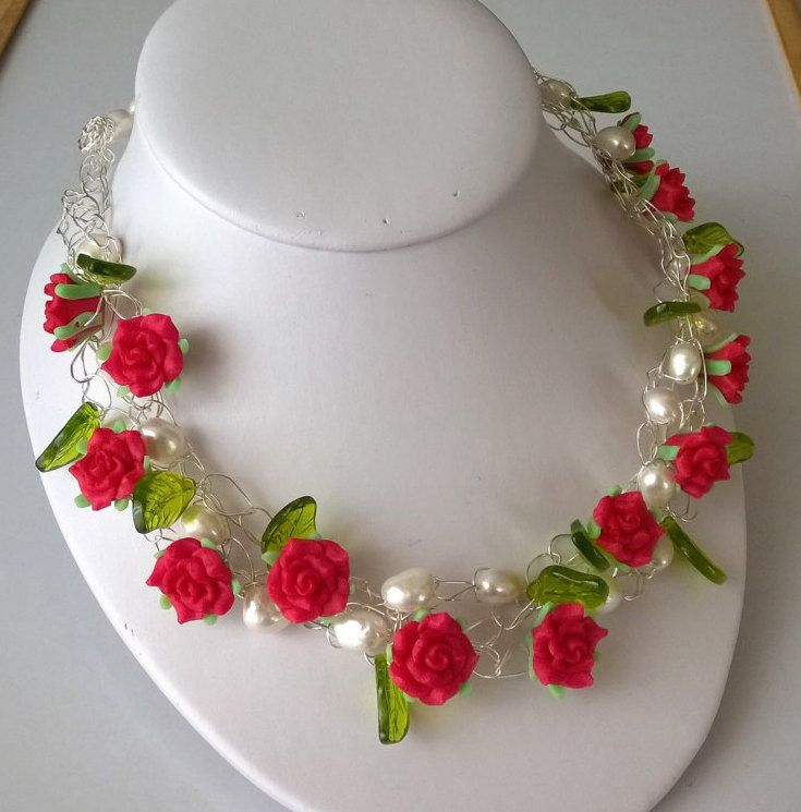 Red and Green Flower Necklace, Freshwater Pearls Bib Necklace, Choker…