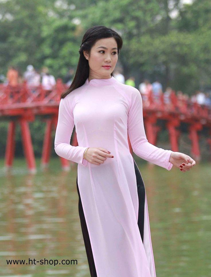 Deflection Collar, Ao Dai Vietnam, Light Pink Chiffon Dress, Satin Skirt