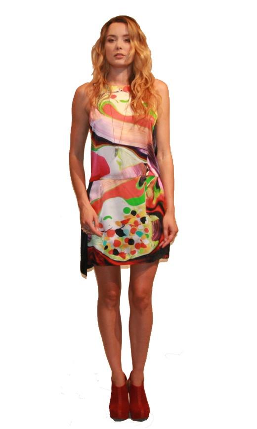Painted Silk Slash Dress from Something Else $239