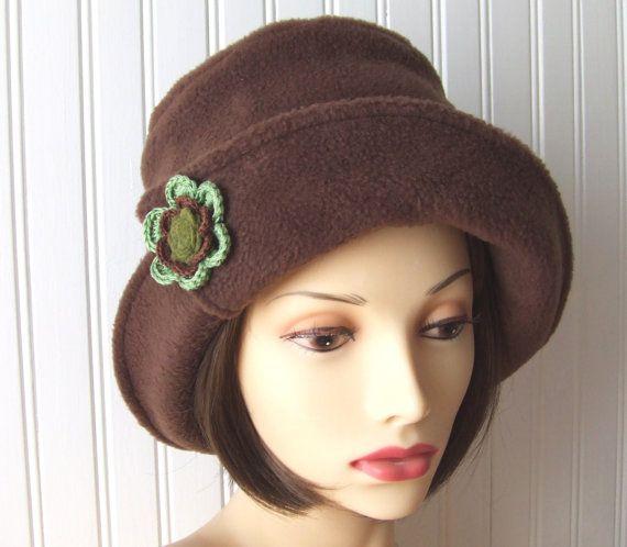 Dark Brown Sugar Fleece Hat with Flower.....New Autumn Fashion