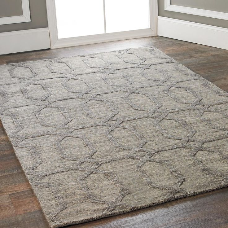 Diamond Prism Imprint Rug Pewter Wool And Colors