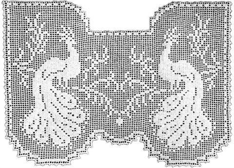 Regal Peacocks Lace Curtain Filet Crochet Pattern   Claudia Botterweg Books
