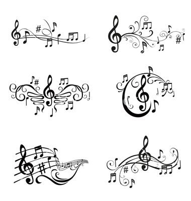 Set of musical notes vector on VectorStock