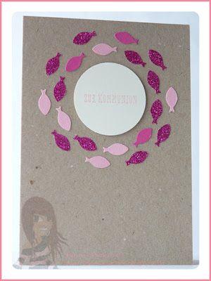 Stampin' Up! rosa Mädchen: Konfirmations-/Kommunionkarten mit Off the grid und Fischen vom Glückswal