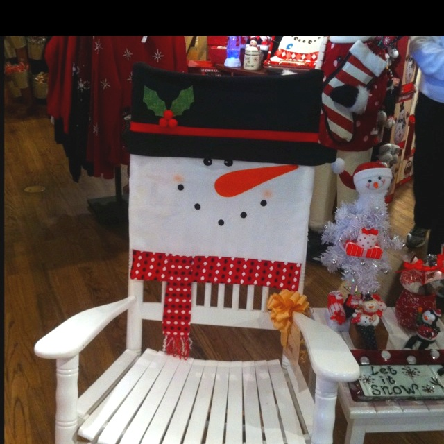 Decorate Your Dinning With These Lovely Christmas Chair: Christmas Rocking Chair Cover. So Cute ... So Easy