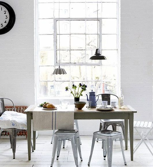 Combined With The Light Colour Palate Simple Dining Table And Mismatched Chairs LOVE