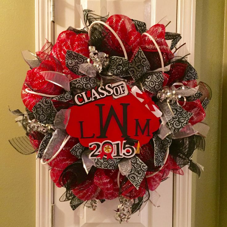 Graduation Party Decoration, Graduation Gift, Monogram Wreath, Deco Mesh Wreath, Class of 2015 by OccasionsBoutique on Etsy