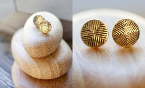 Gold Quadrant Post Earrings