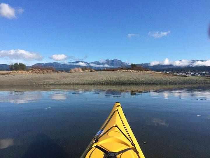 There are a number of scenic and easily accessed kayaking routes. This one from the Alberni inlet with a beautiful view of Mt. Arrowsmith