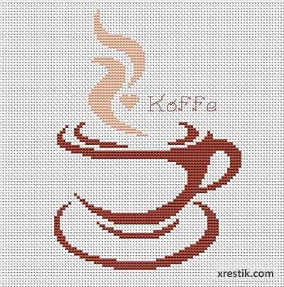 Кофе №6. Размер в крестиках: 100х100. Количество оттенков:2. Контурная схема для вышивки кофе.