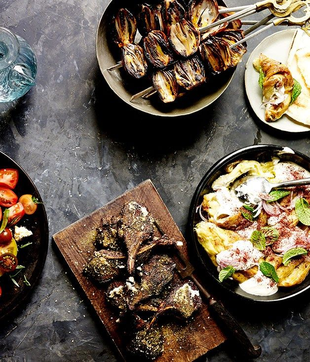 Lamb cutlets with za'atar, toum and caramelised shallots recipe | Lamb cutlet recipe - Gourmet Traveller