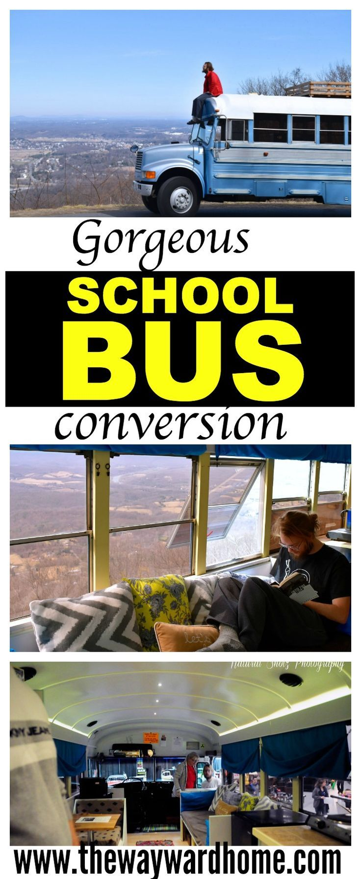 Check out this gorgeous school bus conversion. After seeing these pictures of two different school buses, you'll have ideas for your own school bus camper. #skoolie #schoolbus