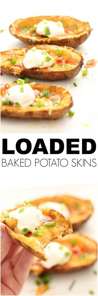Loaded Baked Potato Skins - the perfect appetizer! Recipe from Six Sisters' Stuff