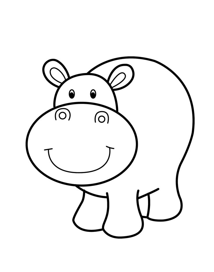 Hippo smiling cartoon animals coloring pages for kids for Baby hippo coloring pages