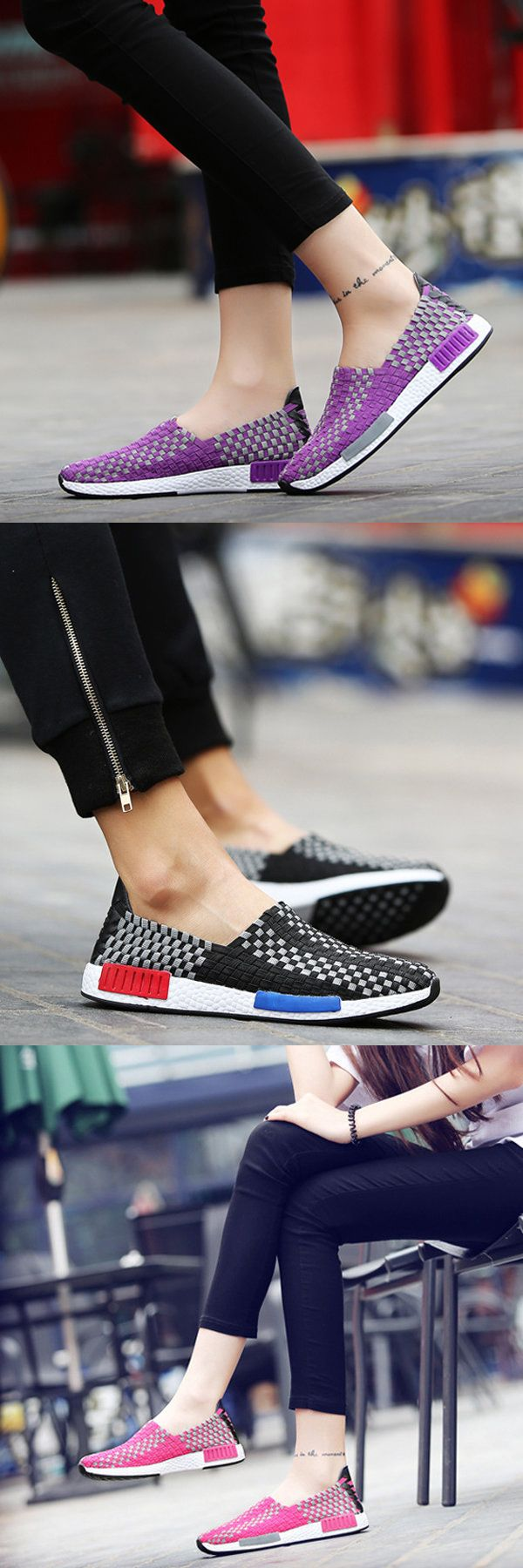 $21.94   Big Size Color Match Slip On Sport Platform Casual Knitting Shoes