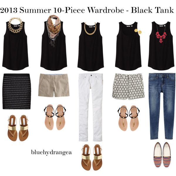 """Summer Wardrobe - Black Tank"" by bluehydrangea on Polyvore"