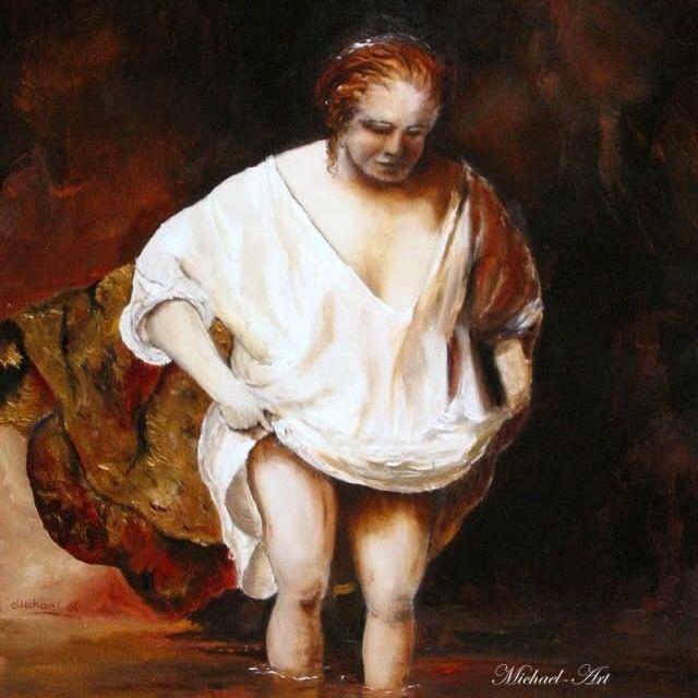 De Baadster van Rembrandt gemaakt met olieverf
