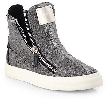 Giuseppe Zanotti Lizard-Embossed Laceless Sneakers on shopstyle.com