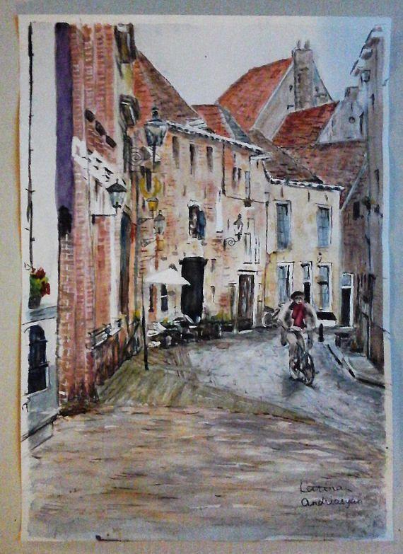 Old  Dutch Town Cityskape Cobblestone Street Original