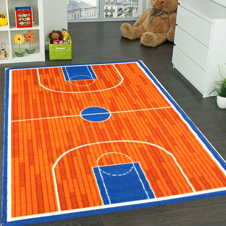 "Kids Rug Basketball Ground 5' x 7' Children Area Rug for Playroom & Nursery - Non Skid Gel Backing (59"" x 82"")"